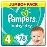 Pampers - Baby Dry - Couches Taille 4 (8-16 kg) - Jumbo+ Pack (x78 couches)
