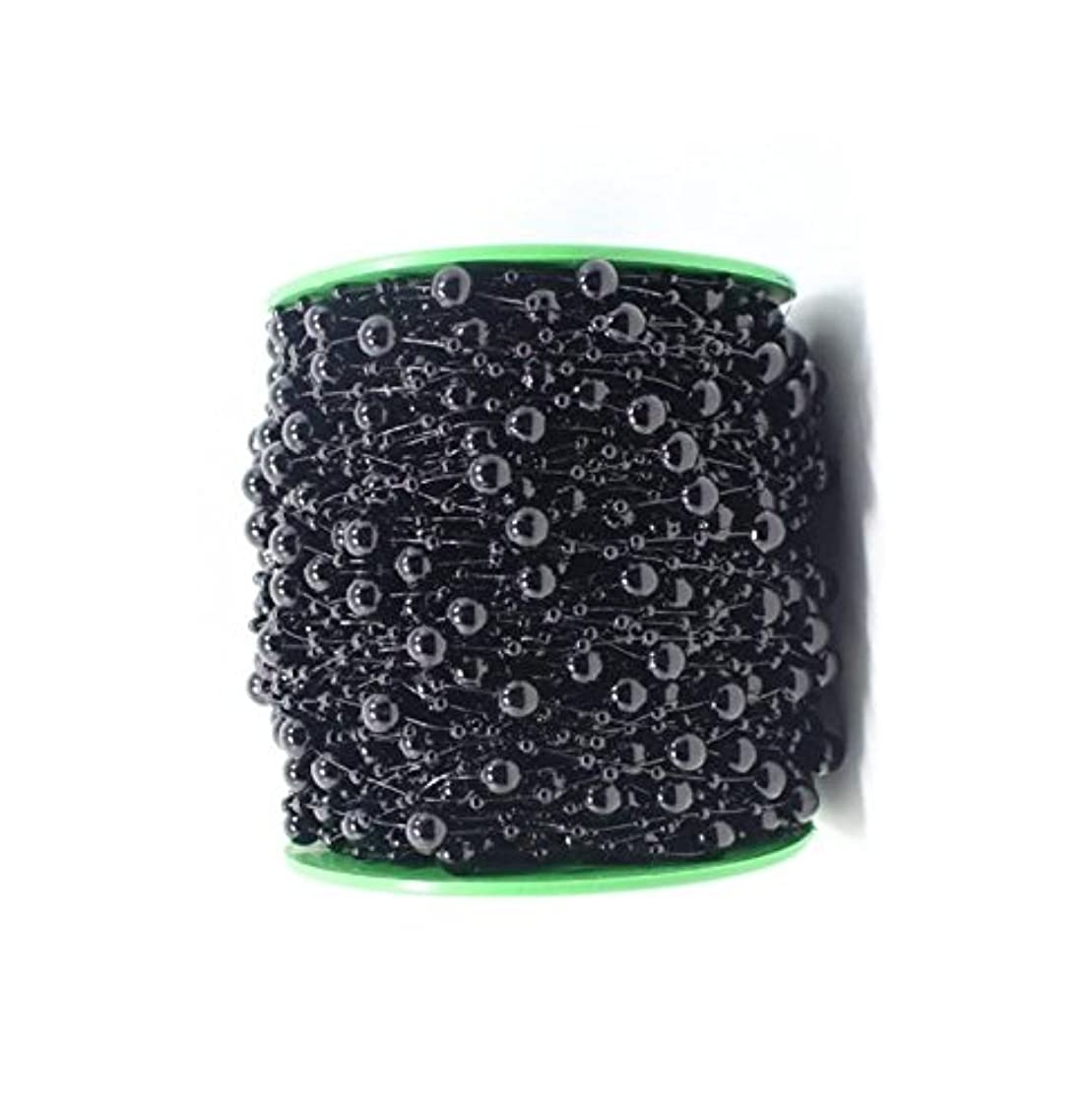 Pearl Bead Roll Faux Pearls Beads String By the Roll Faux Crystal Beads Garland 200Ft ABS Cuttable for Christmas Tree Decoration, Valentine, Exhibition,Wedding, Clothing,Costume,DIY decoration( Black)