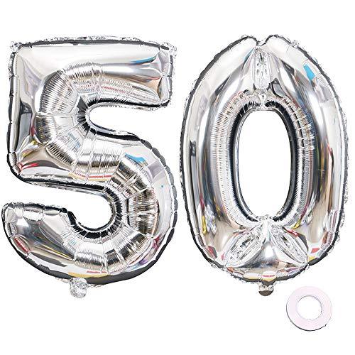 Juland Luftballons 50. Geburtstag XXL Riesen Folienballon Luftballon Zahl 50 Silber Nummer Ballons Große Folienmylar-Ballons 40-Zoll-Riesen-Jumbo-Zahl-Ballons zum 50. Geburtstag Partydekorationen