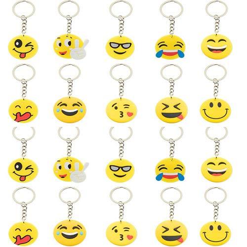 Partituki Piñatas de Cumpleaños Infantiles. Pack de 20 Llaveros de Emoticonos. Idea Genial para Detalles de Fiestas Infantiles y Regalos Cumpleaños Niños Clase