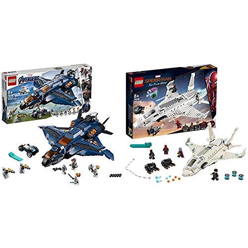 LEGO Super Heroes - Quinjet Definitivo de los Vengadores, Avión de Combate + Super Heroes - Jet Stark y el Ataque del Dron, Set de Construcción de Avión de Juguete de Aventuras de Spiderman (76130)