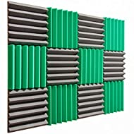 """Pro Studio Acoustics - 12""""x12""""x2"""" Acoustic Wedge Foam Absorption Soundproofing Tiles - Green/Charcoal - 12 Pack"""
