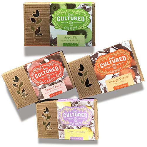 Eva's Cultured Candy Organic Gummies, Natural Snacks, Organic Probiotic Gummies, Healthy Gummy. Kombucha, Vegan & Gluten Free Candy Variety Pack. Tangy & Sweet Organic Gummy Snacks for Kids & Adults.