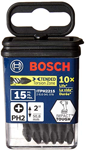 Bosch ITPH2215 15 Pc. Impact Tough 2 In. Phillips #2 Power Bits