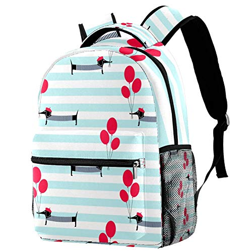 Lorvies Rucksack mit Dackel und Luftballons, lässiger Rucksack, Schulterrucksack, Büchertasche für Schule, Studenten, Reisetaschen