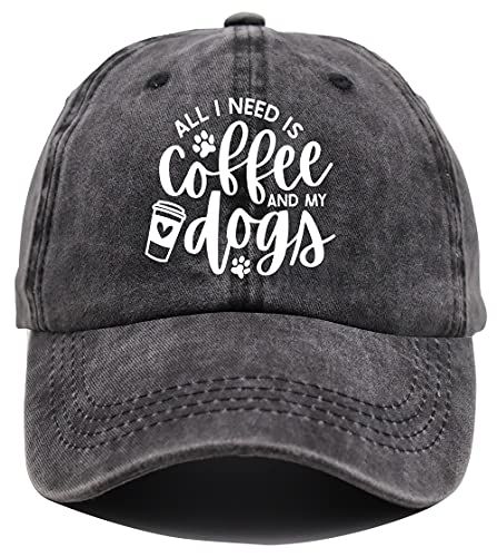 All I Need is Coffee and My Dogs Hat, Dog Dad & Mom Baseball Cap, Coffee Life Adjustable Denim