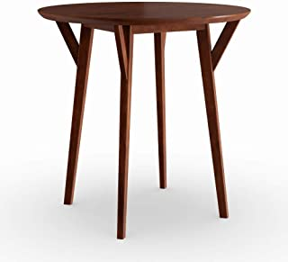 Round Dark Sienna Brown Wood Small Space Dining Table