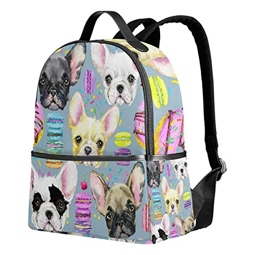 Use4 Watercolor Donuts Puppy Dog Polyester Backpack School Travel Bag
