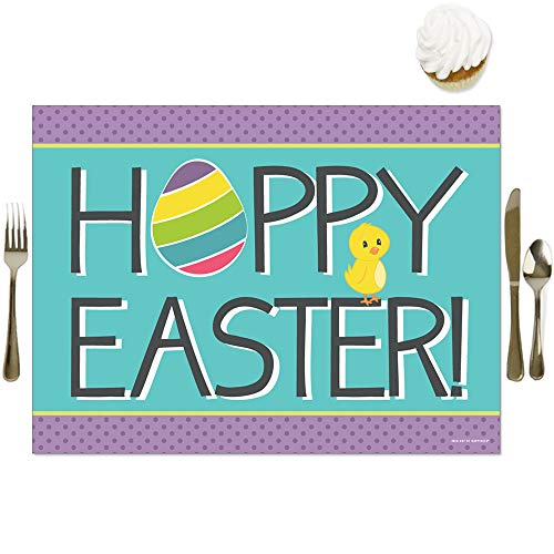 Big Dot of Happiness Hippity Hoppity - Party Table Decorations - Easter Bunny Party Placemats - Set of 16