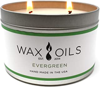 Wax and Oils Soy Wax Aromatherapy Scented Candles (Evergreen) 16 Ounces. Single
