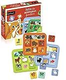 Nathan - Loto de Animales Familiares, Juego clásico con Piezas Grandes de cartón para niños a...