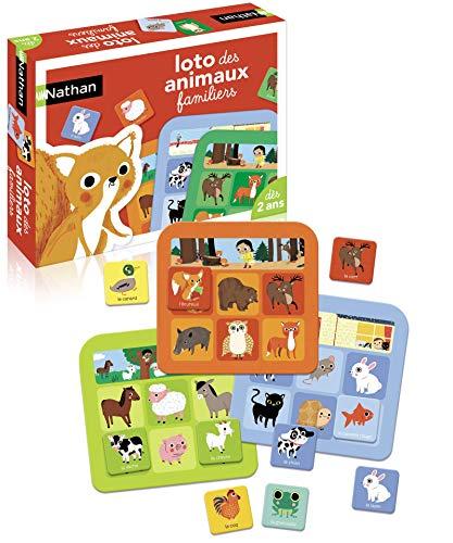 Nathan - Loto de Animales Familiares, Juego clásico con Piezas Grandes de cartón para niños a Partir de 2 años