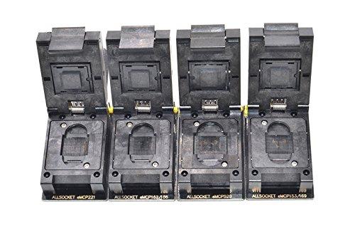 ALLSOCKET eMMC/eMCP-SD Adapter Kit BGA153/169, BGA162/186, BGA221, BGA529 Socket FBGA Flash Mobile Memory eMMC Programming Chip-off Data Extractor Reader(Black-SD Kit)