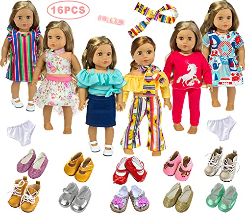 Ecore Fun American 18 Inch Doll Clothes Outfits Lot 8 = 6 Daily Clothes + 2 Random Shoes for American 18 Inch Girl Doll Accessories