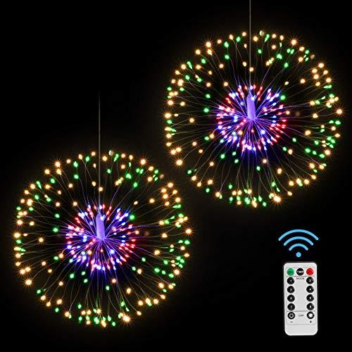 Feuerwerk LED Licht, Feizhibo 2 Stück 120 LED Kupferdraht Hängend Lichterkette 8 Modi Wasserdicht Starburst Lichter mit Fernbedienun für Innen Außen Deko Weihnachten Hochzeit Party