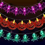 yumcute 3 Piezas Luces de Cadena de Halloween, Decoraciones de Halloween Luces LED, Cadena Luces Halloween Araña MurciéLago Calabaza, Bateria Cargada, Decoración de Halloween Interior y Exterior