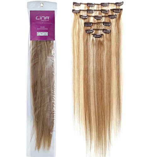 Lina 7Pcs Women Human Hair Clip In Silky Soft Straight Extensions #12/613 Light Brown Mixed With Light Blonde Silky Soft