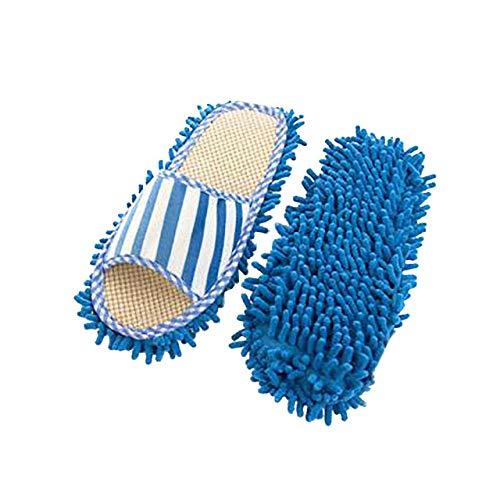 LJQLXJ Tapa de la fregona Zapatillas de casa de interior de terciopelo coral a rayas zapatillas lavables a máquina zapatillas de trape de lino de chenilla, azul
