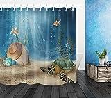Aliyz Retro Sous-Marin Monde tortue Maison Bain d'hôtel Rideau en moisissure imperméable à l'environnement respectueux l'environnement en Tissu Polyester Rideau Rideau Douche 71x71 pouce