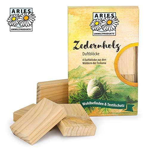 ARIES cederhout geurblokken – 100% natuurlijke bescherming tegen motten in de kledingkast – set van 4