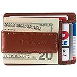 Alpine Swiss Harper Mens RFID Money Clip Wallet Minimalist Slim ID Card Holder Front Pocket Wallet Leather Tan