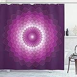 ABAKUHAUS Lila Duschvorhang, Optische Carnation Symbol, Digital auf Stoff Bedruckt inkl.12 Haken Farbfest Wasser Bakterie Resistent, 175 x 200 cm, Purple Magenta White