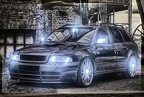 Samarkand - Lights LED-Bild mit Beleuchtung LED- Bilder Leinwandbild 65 x 45 cm Leuchtbild Auto/Oldtimer/Sportwagen/Black Wandbild