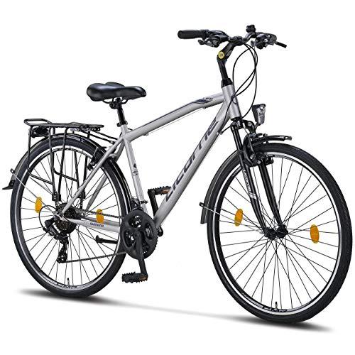 Licorne Bike Premium Trekking Bike in 28 Zoll - Fahrrad für Herren, Jungen, Damen und Herren - Shimano 21 Gang-Schaltung - Herren Citybike - Männerfahrrad - Life M-V-ATB - Grau/Schwarz