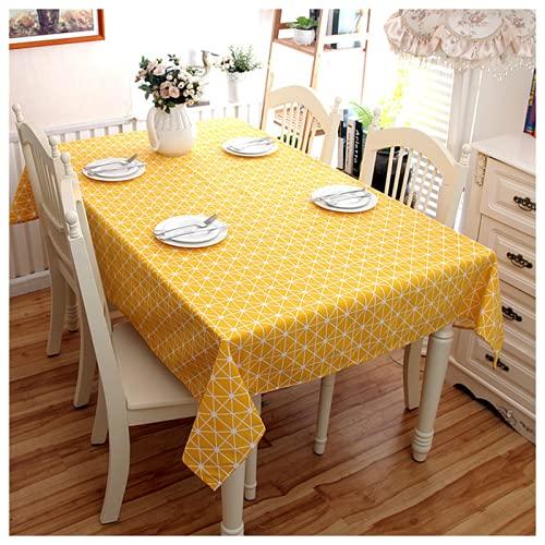 KUATAO Mantelista Mantelista Mantel de Mesa Cuadrado Largo Mantel Mantel Mantel Mantel de algodón Restaurante Restaurante jardín Cena de ajedrez Amarillo