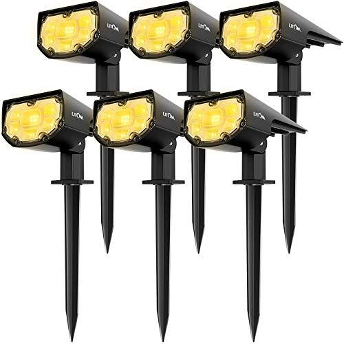 LITOM Solarleuchte garten, Warmweiß Solarstrahler,Solarlampen für garten, gartenleuchten solar,2 Helligkeitsstufe,12 LEDs,IP67 Schutzart,Gartenbeleuchtung für Bäume, Sträucher,Gartenweg -6 Stücke