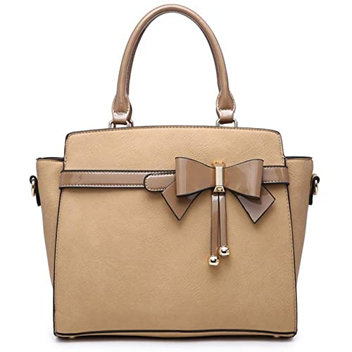Women/'s Plain Faux Leather Front Pocket Designed Top Handle Hand Bag With Strap