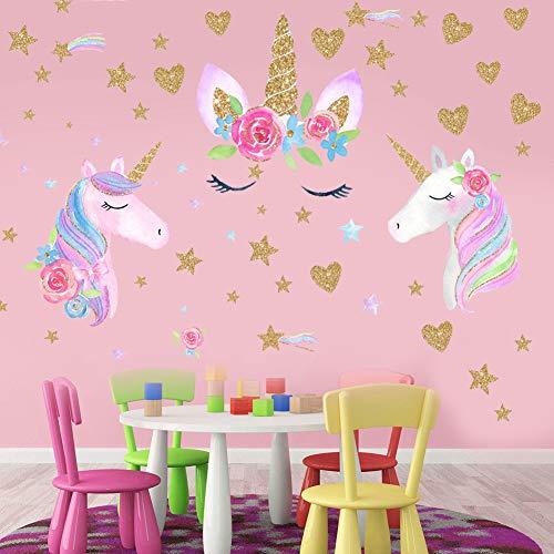 BESLIME 3Pcs Unicorn Wall Sticker, Decoración de Pared de Arcoiris Unicornio, para Niños Sala Dormitorio Niñas Habitación Decoración