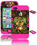 iPhone 4 Phone Case, Bastex Heavy Duty Hybrid Protective Soft Neon Pink Silicone Cover Deer Camo Design Hard Case for Apple iPhone 4, 4S, 4GS