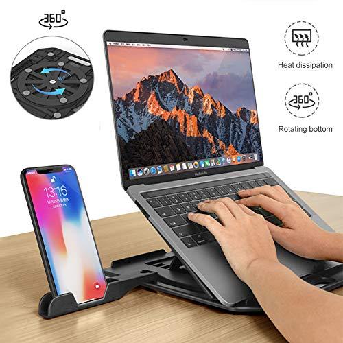 QWERT Supporto per Laptop Pieghevole Regolabile Vassoi di Appoggio per PC Portatili Base Girevole a 360 ° Multifunzione Supporti per Computer Angolazi