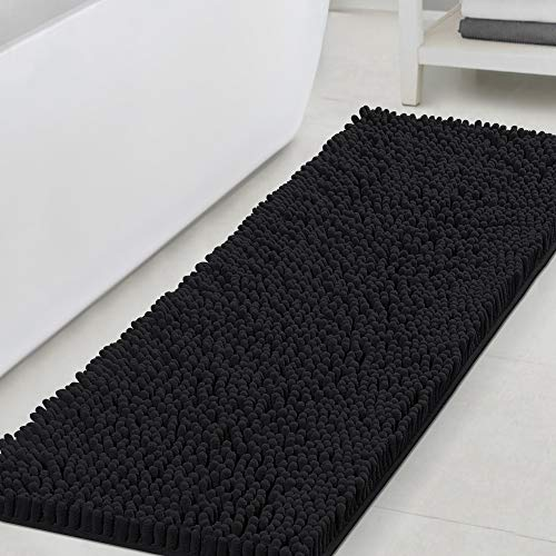 Bathroom Rugs Bath Mats for Bathroom Non Slip Luxury Chenille Bathroom Runner Rug 47x17 Extra Soft and Absorbent Shaggy Rugs Washable Dry Fast Plush Area Carpet Mats for Bath Room, Tub - Black