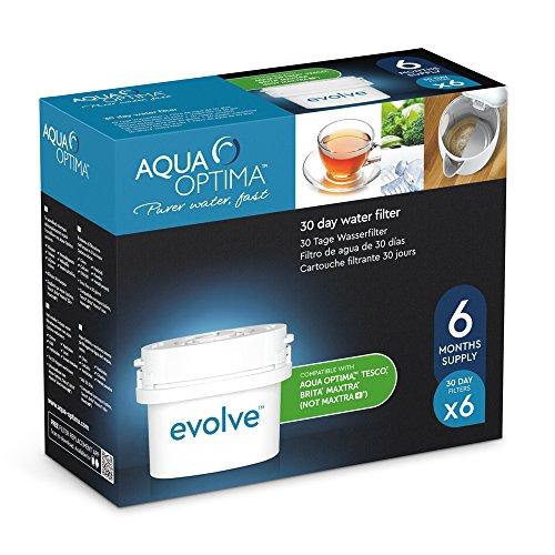 Aqua Optima Evolve confezione 6 mesi, 6 filtri per acqua x 30 giorni - adatto *BRITA Maxtra (non *Maxtra+) - EVS602