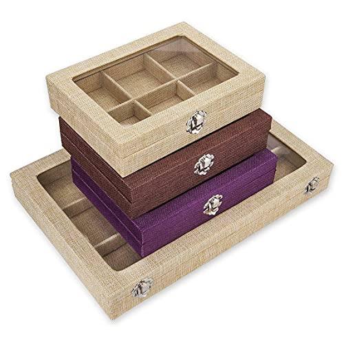 Caja de recuerdo, caja de almacenamiento para joyas, diseño de bandeja para aparador. Tela moderna y elegante cubierta, 2 tamaños en venta. Gran idea de regalo, ropa de moca, pequeña