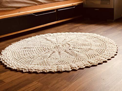 Maison Zoe Schwerer runder Häkelteppich weiß ø100 bis 110cm - 100% Handgemacht - einfarbiges Design - Teppiche