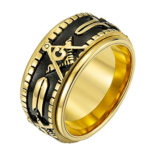 Rinspyre Men's Stainless Steel Vintage Spinner Freemason Masonic Ring Black Gold Plated Size 11