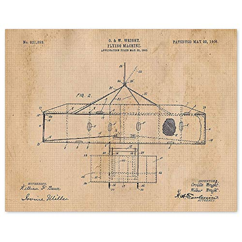 Vintage Wright Brothers Flying Machine Patent Poster Prints, Set of 1 (11x14) Unframed Vintage Photo, Great Wall Art Decor Airplane Gifts Under 15 for Home, Office, Men, Man Cave, Student, Pilots