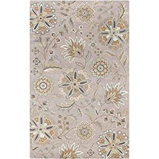Diva At Home 12' x 15' Nilofar Flower Sage Green, Sandstone Tan and Cream White Wool Area Throw Rug
