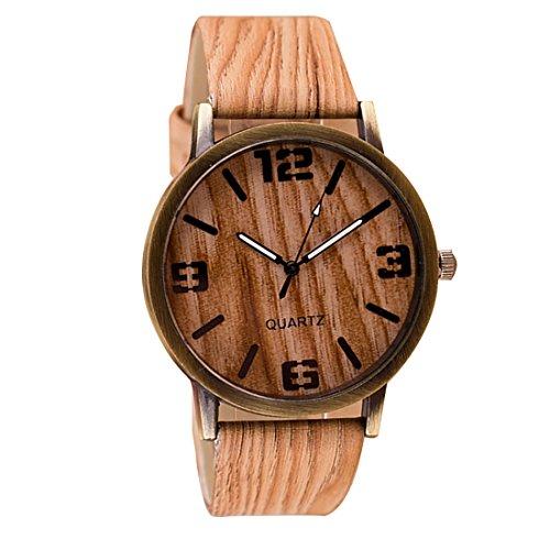 Retro Unisex Piel Sint¨¦tica Pulsera de Casual de cuarzo reloj de madera relojes estilo # 6