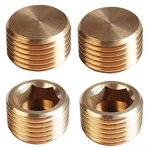 Horiznext Brass 1/4 npt Pipe Plug, Threaded countersunk Socket Set,hex Metal Fittings,Screw Hole Tapered Head Plug (Pack of 4)