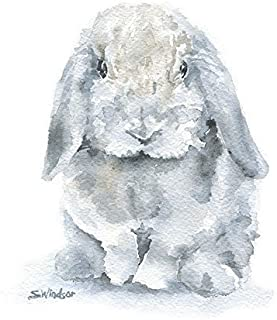 Mini Lop Rabbit Watercolor Print