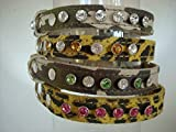 Collar de piel con cristales de Swarovski, diseño de perro, 9 opciones de cristal, 4 tamaños de collar, 2 colores, camuflaje o leopardo 90 combinaciones