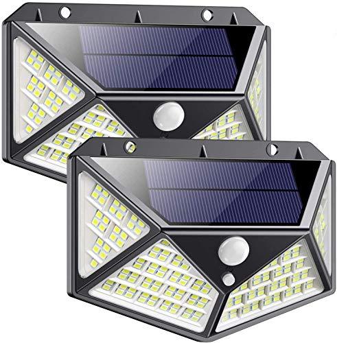 Aussen Solarlicht, Parkarma 2 Stück Aussenleuchte Solarlicht 114 LED IP65 Solar Wasserdichte Wandleuchte Led Solarleuchten für Außen 270°LED Solarbetriebene Lichter 3 Modi für Garage Garten