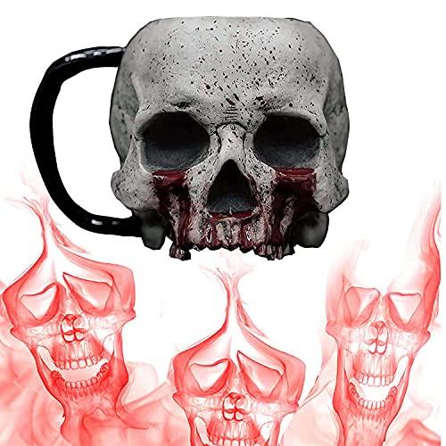 Gothic 3D Skull Mug, Creativo Jarra de Cerveza, Taza de gótica espeluznante realista 3D con mango, Decoración del Hogar de Halloween (A)