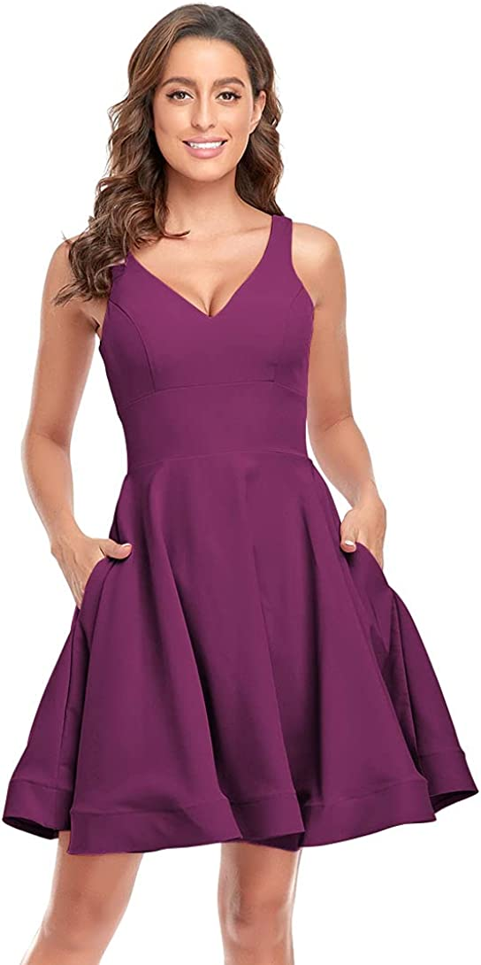 V Neck Satin Homecoming Dresses Short Prom Dress A Line Cocktail Party Gowns with Pockets