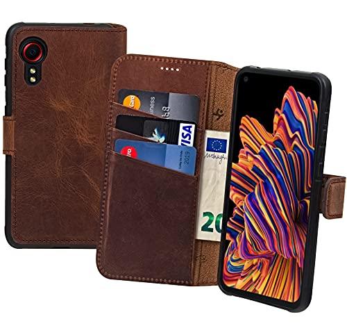 Suncase Book-Style Hülle kompatibel mit Samsung Galaxy Xcover 5 Leder Tasche (Slim-Fit) Lederhülle Handytasche Schutzhülle Hülle mit 3 Kartenfächer in antik-Coffee