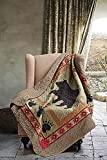 Quilted Throw Blanket by Virah Bella - 50' x 60' Bear and Paw Lightweight Throw Quilt Great for Loungers & Extra Bedding - Beautiful Lodge-Themed Blanket